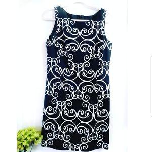 🔮 Ann Taylor Black White Paisley Sheath Dress